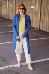 denim duster with macrame handbag and espadrilles for summer
