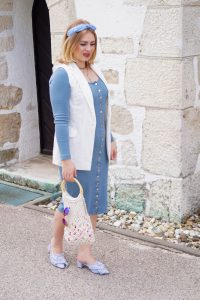 midi dress, ribbed dress, buttoned dress, business casual, summer business, macrame, striped mules, heandband, baby blue