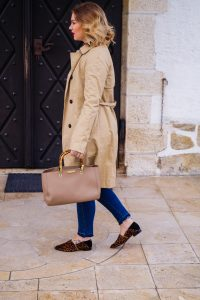 wardrobe basics, basics, wardrobe staples, style staples, the classics, trenchcoat, leopar mules, bamboo handle bag, white blouse