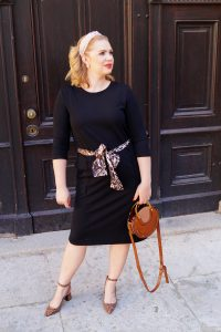 office, office style, black for summer, office summer style, leopard print, pearl headband, black shift dress, working girl, summer 19
