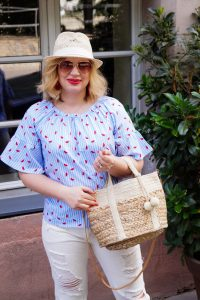 watermelon print, summerstyle, summer blouse, wicker accessories, Dirty Dancing quote, white denim, white denim style, stripes