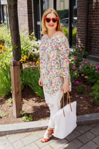 off-shoulder shirt, off shoulder, flowers, summerstyle, summer, outfit, daily look, trends 2019, wicker tote, red, heart eye sunglasses, designer dupe sunglasses