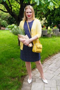 navy blue, sheath dress, polka dots, yellow, mini handbag, mules, summer look, summerdress, colorful, summerstyle, fashion, summer19