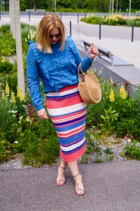 chambray, ruffles, stripes, knitted skirt, sumer style, summer 2019, raffia bag, midi skirt, H&M, colorful stripes, red white and blue
