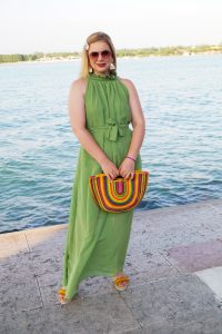 green maxi dress, amazon, amazon fashion find, summer dress, fashionblogger, vacation style, fiesta handbag, pinata handbag, summer19, lake garda, fashion blogger travels