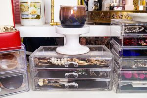 home organization, organization, home stories, jewelry organization, sunglass storage, earring tower, headband storage