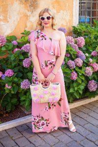 one shoulder, maxi dress, summer dress, pink, flower print, vacation dress, fashion blogger travels, summer style, summer 19, lake garda