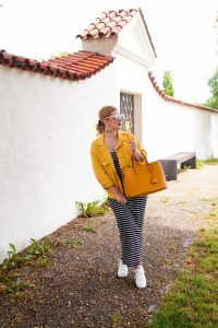 maxi dress, striped dress, summer style, transition style, white sneaker trend, heart shaped sunglasses, black and white, yellow for fall, fashion blogger, Madame Schischi