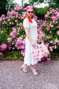 summer style, summer 19, all white, summer whites, pink, fashionblogger, satin scarf, hair style