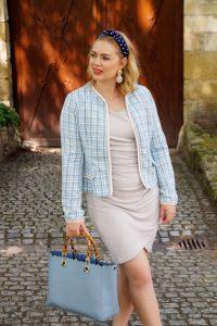 summer tweed, fashion blogger, summer style, summer 19, SheIn, tweed jacket, classic style, blue hue, Madame Schischi, pearl headband