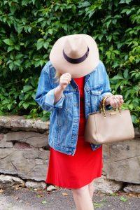 lrd, little red dress, fall style, fall fashion, fashionblogger, pre-fall, leopard print, denim jacket, fall dresses, Madame Schischi