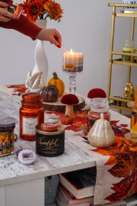 autumn, fall, fall candles, fall festivities, cozy at home, loungewear, fall decoration, orange for fall, cozy for fall, autumn hues