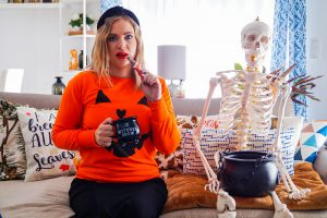 halloween, skeleton, candy, cauldron, pumpkin shirt, happy halloween, decor, spooky decroation