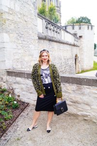 leopard print cardigan, casual work look, fall look, autumn styles, fashionblogger, Madame Schischi, headband, two-tone slingbacks
