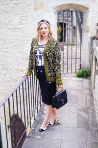 leopard print cardigan, casual work look, fall look, autumn styles, fashionblogger, Madame Schischi, headband, two-tone slingbacks