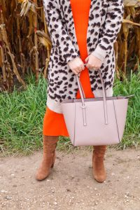 leopard print, ribbed dress, Calvin Klein, fall style, fall fashion, orange for fall, brown and orange, fall color combos, H&M, affordable fashion
