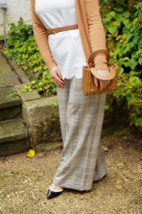plaid pants, fall fashion, fashion, style blogger, marlene pants, studded heesl, mini bag, Ralph Lauren belt, cognac brown
