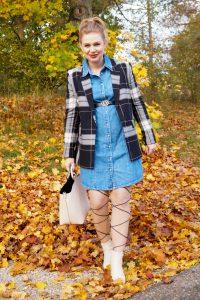 denim dress, bump style, pregnancy fashion, plaid, fall fashion, fashion blogger, Madame Schischi, styel, outfit inspiration