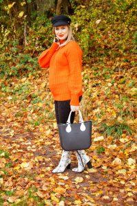 fashion, fashionblogger, fall, fall fashion, autumn, style blogger, snake print, orange sweater, baker boy trend, snake print boots