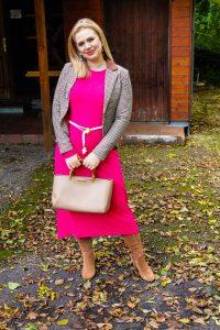 pink dress, plaid blazer, fall, fall fashion, autumn styles, fashion blogger, Madame Schischi, maxi dress, dress and boots