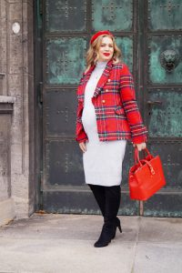 plaid, plaid blazer jacket, christmas tartan, christmas style, office style, christmas party look, christmas red, bumpstyle, maternity style,