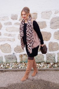 fashion blogger, fashion, styleblogger, Madame Schischi, pregnancy style, maternity style, dress the bump, fake fur vest, leopard print