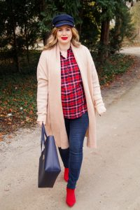 plaid shirt, christmas, casual christmas, ralph lauren tote, bumpstyle, maternity style, fashionblogger, fashion, styleblogger, Madame Schischi, red x navy