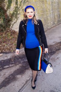 fashionblogger, fashion, style blogger, Madame Schischi, royal blue, colorful style, transitioning into spring, pregnancy style, maternity style, mom to be, dress the bump