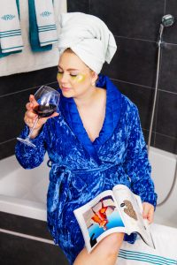 beauty, selfcare, drinking wine, eyemask, reading a magazine, stayathome