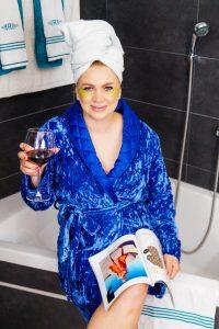 beauty, selfcare, drinking wine, eyemask, reading a magazine, stayathome