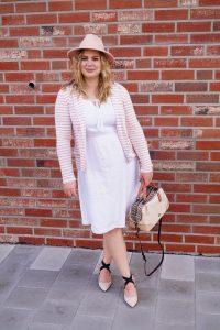 fashionblogger, fashion, style blogger, blush x white, striped blazer, coach handbag, white summerdress