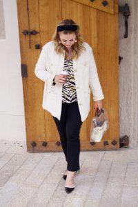 fashionblogger, fashionista, Madame Schischi, fashion blog, boucle jacket, H&M coat, black x creme, style post, fashion post, casual style, tiger print, luxury dupe, studded flats, headband trend
