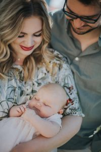 newborn photos, baby photos, fashion blogger, matching outfits, family photoshoot, mother and father, baby pictures