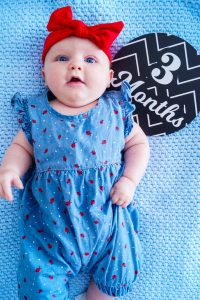 baby girl, baby update, 3 months update, baby fashion, Madame Schischi, denim overall