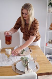 home decor, table scape, gingham table decor, home decoration, house decor, entertaining, hosting, farm glam, leopard print