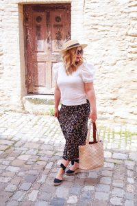 fashionblogger, chain print skirt, puff sleeve blouse, straw hat, summer, summer style, how to style, what to wear, black and white, straw accessories