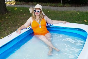 blow-up pool, bathing suit, summer, summer style, home, house, fancy at home, pandemic