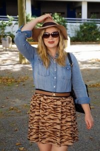 fashionblogger, fashion, fall fashion, autumn style, casual style, ootd, what I wear, how to style, tiger print, denim shirt, suede booties