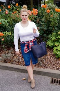 fashionblogger, fashion, fall fashion, autumn style, casual style, mom style, ootd, what I wear, how to style, flannel, suede booties, Ralph Lauren tote