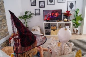 halloween, halloween movies, charlie the skelton, halloween decor, movie night, basic with, the witch is in, homemade popcorn, fall movies, spooky fall