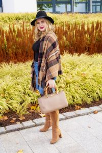 fashionblogger, fashion, fall fashion, autumn style, casual style, mom style, ootd, what I wear, how to style, plaid blanket scarf, body suit and denim, Katie Loxton, Thanksgiving oufit