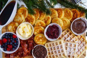food, breakfast, breakfast board, waffles, pancakes, breakfast ideas, christmas time, christmas morning