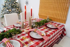 table scape, rustic holiday theme, red and gold, christmas dinner, christmas, holiday, christmas holidays, fresh fir, fir garland, red gingham