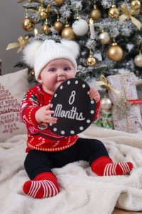 christmas, home decor, christmas tree, baby girl, baby girl update, 8 months, ugly sweater, mommy and me, mommy and daughter, red and black, christmas card style