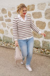 fashionblogger, styleinspo, outfitinspiration, spring, spring style, lily & bean, striped sweater, converse chucks, tweed jacket, womans fashion, affordable fashion, fashionista, style month