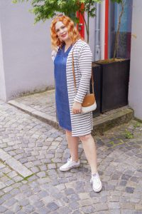 denim dress, lyocell dress, summer dress, blue and white outfit, stripes, red hair, red head, how to style, what to wear, Madame Schischi, style inspo, insta fashion