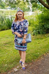 fashion blogger, fashionista, style inspo, 31 dresses of summer, dress challenge, printed dress, a-line dress, bamboo handle bag, how to style, what to wear, summer, summer style