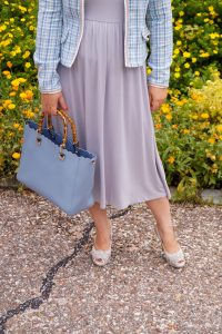 fashion blogger, style inspo, 31 dresses of summer, jersey dress, tweed blazer, pearl headband, summer dresses, summer, dress challenge, madame schischi, sheIn dress, how to style, what to wear, womans fashion