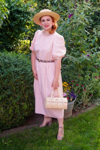 fashionblogger, fashion, style inspo, garden party, garden party dress, blush dress, pink dress, straw bag, 31 dresses of summer, summer dress, dress lover, how to style, what to wear, womans fashion, southern style